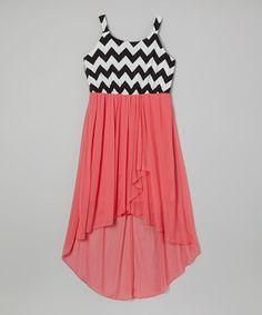 Loving this Coral Zigzag Hi-Low Tank Dress - Girls on #zulily! #zulilyfinds