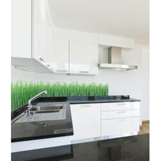 Cool Back Splash - GREEN GRASS - this will look awesome with the brick.
