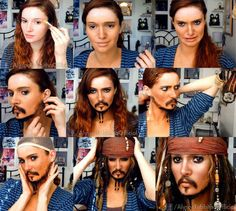 Jack Sparrow Makeup Transformation Video by AlysonTabbitha on DeviantArt/ talented Cosplay Tutorial, Cosplay Diy, Cosplay Makeup, Costume Makeup, Best Cosplay, Halloween Kostüm, Halloween Cosplay, Jack Sparrow Fantasia, Jack Sparrow Costume