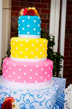 Bright, colorful wedding cake