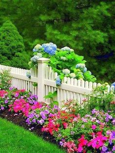 beautiful flowers on fences | Beautiful Flower Bed Along Fence