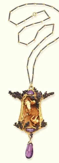 Lalique Pendant Neck-lace, 1905: enamel/ amethyst/ ivory: a carved ivory plaque, w/ a rearing horse/ rider/ fallen maiden in high relief, w/in a textured undulating gold tree surround, extending purple enameled leaves, 2 fancy-cut amethysts/ faceted amethyst drop/ mounted in gold: purple enamel bar link neck chain. christies.com