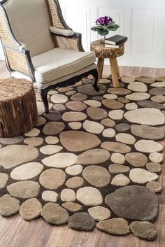 Serendipity Contemporary Handmade Wool Pebbles Cobblestone Natural Rug | Contemporary Rugs