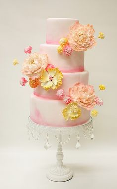 blush & yellow tiered tall cake; LULU Custom Cake Boutique, NY