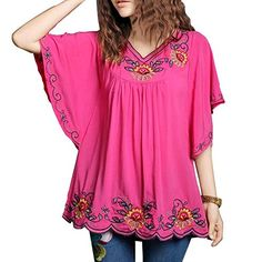 Ashir Aley Floral Embroidered Butterfly Sleeve Wrap Peasa...