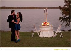 Candle lit dinner and dancing for engagement photos is so romantic! ... Linens by Eventful http://www.eventful-events.com/