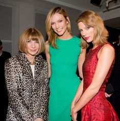 """""""voguemagazine: BFF power duo—and the stars of our March cover—@taylorswift and @karliekloss with Anna Wintour at today's Oscar de la Renta fashion show. Photo by @kevintachman. #NYFW (x)"""""""
