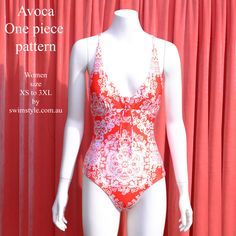 Front view Avoca One piece sewing pattern by Swim Style
