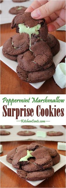 Mint Marshmallow Chocolate Cookies have a soft brownie-like chocolate exterior with a mint marshmallow surprise inside. They bake up in 5 minutes or less. Chocolate Cookie Recipes, Easy Cookie Recipes, Cookie Desserts, Chocolate Cookies, Just Desserts, Baking Recipes, Dessert Recipes, Brownie Cookies, Quick Cookies