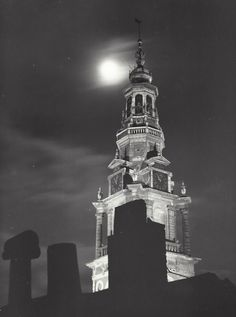 """"""" The tower of the Zuiderkerk """" Amsterdam, about 1952-1956. photo: Kees Scherer"""
