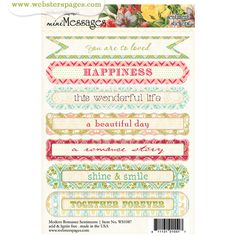 Websters Pages - Modern Romance Collection - Cardstock Stickers - Mini Messages - Sentiments at Scrapbook.com $1.25