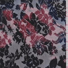 Black Multi Floral Stretch Lace 97 poly 3 lycra - 34142 - Fabric By The Yard At Discount Prices