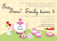 tea party free birthday invitations for kids