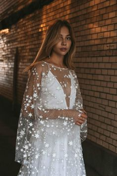 Counting Stars Boho Wedding Dress by Boom Blush. Counting Stars Boho Wedding Dress by Boom Blush. Unique Vintage Bohemian Backless Gown 2019 with Sleeves, Unique Lace and A Line Skirt- Maxi Dress Wedding, Fall Wedding Dresses, Wedding Gowns, Prom Dresses, Bridal Dresses, Unique Wedding Dress, Wedding Frocks, Trendy Wedding, Beige Wedding