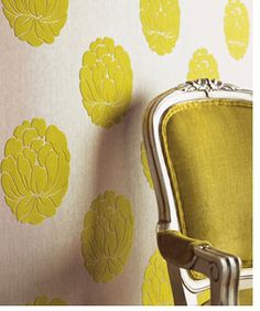 DIY removable fabric wallpaper - starch soaked to stick and easily removable with soap and water!