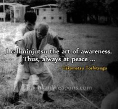 Always at Peace, I call ninjutsu the art of awareness. Thus, always at peace, the ninja does not know surprise. Such is the practical philosophy of Togakure-ryu. - Takamatsu Toshitsugu   http://bujinkanweapons.com/