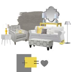 Yellow & Gray Living Room. I want to redue my living room in these colors with maybe some teal added in so bad
