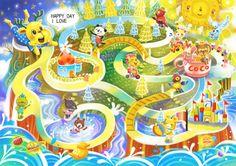 ★【兒童繪本插畫】Painter繪圖 結合了Hi早餐店的帕尼尼和吐司熊,其他品牌特別設計的配角們!!! 可愛的兒童迷宮,第一次畫這類題材,希望小朋友會喜歡!!!