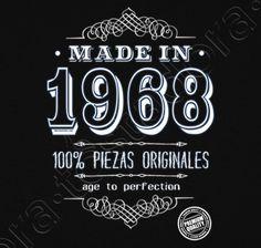 Camiseta Made in 1968. - nº 1270170 - Hombre, manga corta, negra, calidad extra. Sol's 190 gr/m2: 100 algodón semipeinado, 24/S hilo Ring Spun de calidad superior. Algodón preencogido. Tapacosturas reforzado en el cuello. Dis