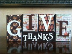 Wood Fall Block set  Give Thanks Blocks  by WoodnExpressions, $20.00