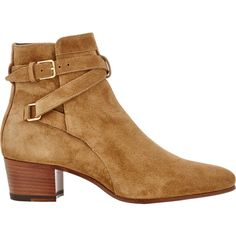 Saint Laurent Blake Jodhpur Boots ($995) ❤ liked on Polyvore featuring shoes, boots, ankle booties, nude, mid-heel boots, block heel booties, lined boots, nude boots and buckle booties