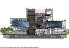 Galeria de O Taipei Performing Arts Center, do OMA, começa a ser construído - 25 Theater Architecture, Concept Architecture, Architecture Design, Theater Plan, Sectional Perspective, Outdoor Stage, Mix Use Building, Architectural Section, Architectural Drawings