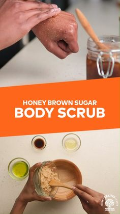 """We all deserve a little """"me"""" time. 💁 To celebrate National Skin Month, we have the perfect excuse to feel pampered with our easy-to-make Honey Brown Sugar Body Scrub. 🍯 Enjoy with a nutritious glass of Florida OJ! Body Scrub Recipe, Sugar Scrub Recipe, Diy Body Scrub, Diy Scrub, Exfoliating Body Scrub Diy, Best Body Scrub, Sugar Scrub Homemade, Homemade Skin Care, Zucker Schrubben Diy"""