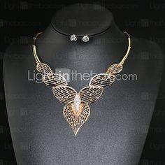 05032c4f4033 Juego de Joyas Collar   pendientes Amor Moda Europeo Personalizado La  imitación de diamante Forma de