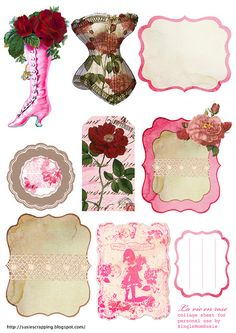 Susie's scrapactivities and freebies: Collage Sheet La vie en rose/ Kollaasisivu . Printable freebies for DIY paper crafts, ephemera, tags, scrap booking, decorations or holiday inspiration. Think shabby chic & vintage pink. Vintage Diy, Images Vintage, Vintage Labels, Vintage Ephemera, Vintage Cards, Free Collage, Printable Labels, Printable Paper, Collage Sheet
