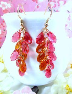 Orange and carmine pink Swarovski crystal gold filled by KBlossoms, $78.00