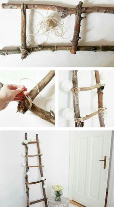 Decoration ladder DIY Tutorial diy home decor wood Dekoleiter Selber Bauen Diy Para A Casa, Diy Casa, Diy Ladder, Ladder Decor, Ladder Storage, Wood Ladder, Upcycled Home Decor, Diy Home Decor, Diy Décoration