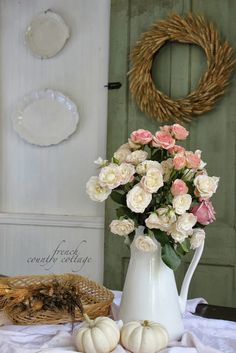Really like the look of the white pitcher as the flower vase! Vintage Door to Shabby Chic Decor English Country Cottages, French Country Cottage, French Country Style, Cottage Style, Country Fall, French Decor, French Country Decorating, Estilo Cottage, Fall Vignettes