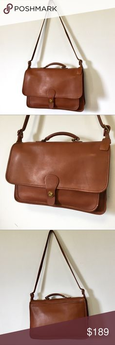 """Vintage Coach Legacy Briefcase Saddle Leather A handsome vintage Coach Legacy Briefcase in saddle brown tabac leather. This bag is just stunning and works for Men or Women. Overall good vintage condition with some wear, scuffs here and there, a couple pen marks to the interior flap. Take a look at all the photos and use them as part of the description. Check out my closet for more Vtg Coach bags and briefcases. Approx: 15.5""""x11""""x3"""" Messenger Bag / Satchel/ Men's / Women's / Laptop / IPad…"""