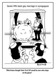 Cartoon for The Jewish News by Paul Solomons. Government back gay marriage in synagogues.