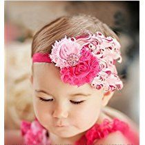 Lovely Cotton Girls Baby Pink And Rose Feather Hairband Headband.  Hair Bows For Baby Girls.