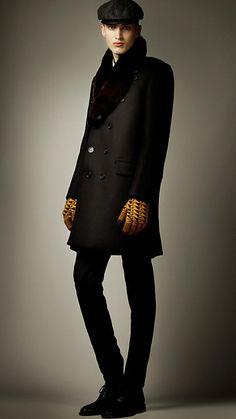Fur Collar Oversize Wool Pea Coat $3249