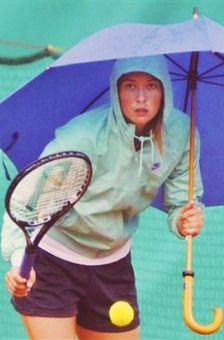 Maria Sharapova in the rain