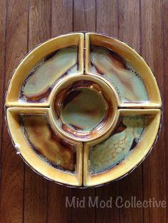 Vintage drip glaze lazy Susan. Available now at Mid Mod Collective. Email midmodcollective@gmail.com for more info. SOLD!