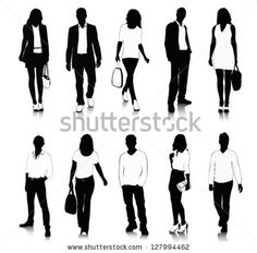 Collection of people silhouettes - stock vector