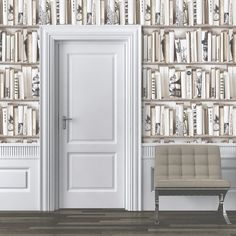 A beautifully elegant wallpaper from Muriva inspired by Century libraries. Perfect for a chic look in any room. Available at Go Wallpaper UK Cream Wallpaper, Book Wallpaper, Modern Wallpaper, Designer Wallpaper, Wallpaper Borders, Wallpaper Paste, Amazing Wallpaper, Traditional Bookshelves, Houses