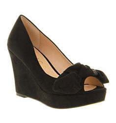 Office BOW PEEP WEDGE BLACK MICROSUEDE Shoes - Womens Mid Heels Shoes - Office Shoes