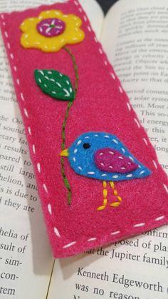 Cute bird and flower felt bookmark by HallZoo on Etsy
