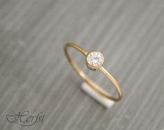 14 k diamante sólido anillo anillo de por GoudsmederijHerfst