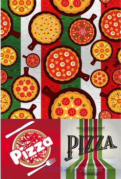 Pizza theme menu design vector