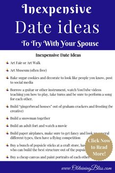 Looking for some great ideas for dates but don't want to break your tight budget? To keep your marriage strong you should make date night a priority. Check out over 50+ inexpensive date ideas that you can try with your man. via @obtainingbliss