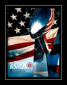 1976 Super Bowl X Program Cover Art Poster. In Super Bowl X on January 18, 1976, the Pittsburgh Steelers defeated the Dallas Cowboys 21-17, behind the stellar play of MVP Lynn Swann. Here's the replica cover art from that game day program. Details High-quality photographic print Printed on heavyweight satin photo paper Ready to frame Great gift idea Made in the U.S.A. Available in 3 sizes Choice of black or white border Buy with confidence. I stand behind everything I sell. If you are not sati
