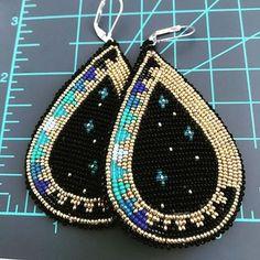 Done and available, DM to buy.. #art #earrings #beadwork #buckskin #stars
