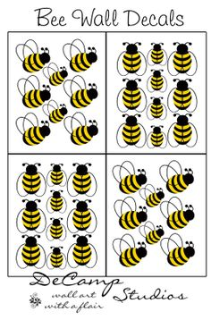 Bee Wall Decals, Baby Nursery Wall Decals, Childrens Wall Decals ...