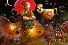 Telling Grandma a Secret Victor Nizovtsev giclee prints of fables, fantasy, theatrical and imaginative art, Page 3 Cicely Mary Barker, Holly Hobbie, Victor Nizovtsev, Gauguin, Mary Cassatt, Henri Matisse, Children's Book Illustration, Whimsical Art, Art Blog