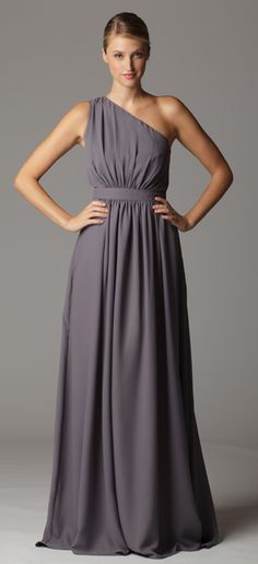 Style 611. Gathered one shoulder bridesmaid dress with built in waistband.  Made in USA.  Ariadress.com